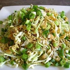 Crunchy Cabbage Salad.  (in the recipe, 2 Minute Noodles = Ramen Noodles)  My SIL makes this salad for our gatherings and it is my favorite thing!  So yummy!