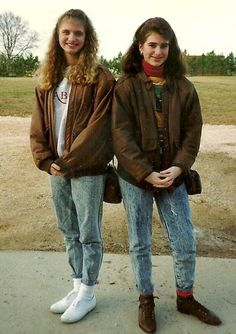 Bomber Jackets in the #80s.  These totally awesome girls also have their jeans tight rolled and some bitchin' scrunchie socks.  Who else had a bomber jacket in the late 80s? http://www.liketotally80s.com/bomber-jackets.html