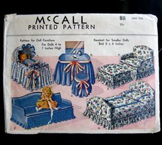 McCall 811 1940 Doll Furniture Pattern UNCUT 4 5 6 7 inch tall Sofa Bed Vanity Chair Ottoman Bassinette etc. Printed Pattern. via Etsy.