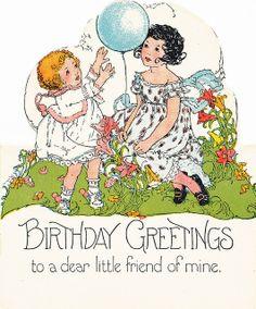lámina vintageantiguasretro, vintag happi, vintag card, vintage birthday cards, children, vintag birthday, collag candi, vintage girls, happi birthday