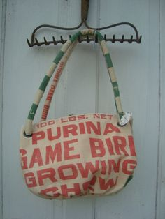 vintage PURINA Game Bird Growing Chow feed sack purse  by ginnymae, $65.00