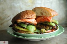 Crispy Salmon, Bacon and Avocado Sandwich