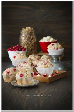 Cranberries, White Chocolate & Walnut Muffins