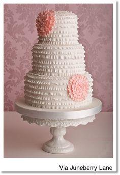 butter cream ruffle cake, pretti ruffl, birthdays, pretti cake, simple cakes, cake decor, wedding cakes, unique weddings, birthday cakes