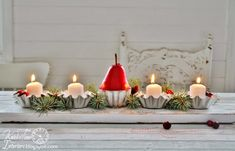 DIY Holiday Candle Holder Centerpieces ~~~by KnickofTimeInteriors.blogspot.com