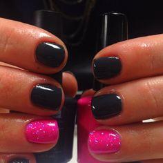 nail polish, color combos, pink nails, colors, neon, black nails, spark pink, nail ideas, shellac nails black