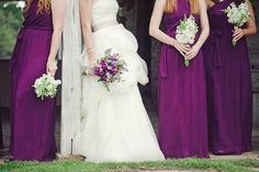 A deep, rich purple is a striking color for bridesmaids' dresses.
