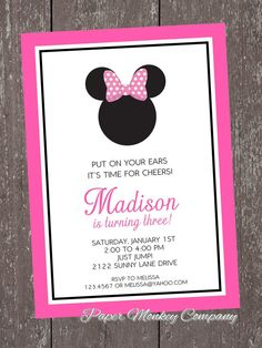 Minnie Mouse Birthday Invitation ... 1.00 each with envelope on Etsy, $1.00