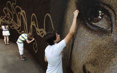 World Record Mural Made from One Million Coffee Beans by Arkady Kim.