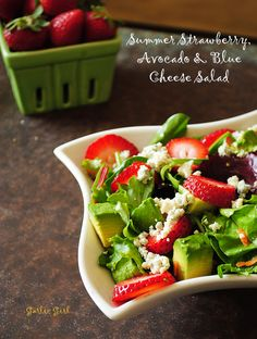 Strawberry, Avocado and Blue Cheese Salad -- pin by @Garlic Girl #garlic #avocado #salad #strawberry #summer