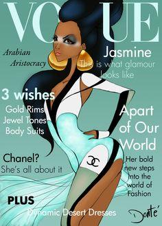 """""""Disney Princesses as Vogue Cover Models""""."""