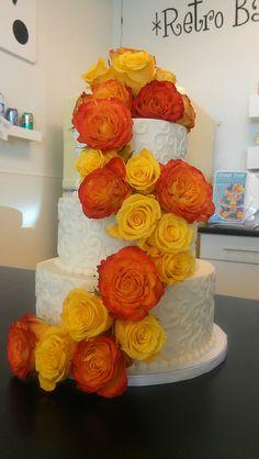 Yellow and Orange Roses S Swirl Wedding cake | Flickr - Photo Sharing!
