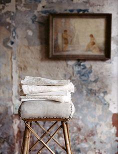towel racks, stool, wall treatments, linens, linen closets, french blue, textured walls, bathroom, wall colours