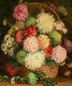 Eleanor Stuart Wood  Chrysanthemums in a Basket  19th century