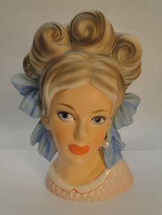 "RARE VINTAGE ENESCO LADY HEAD VASE HEADVASE BLUE BOW HEADBAND BIG 7-1/2"" TALL | eBay"