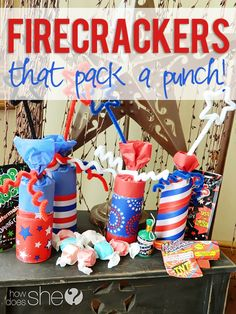 Fun 4th of July Firecrackers that pack a candy punch! The kids absolutely love these every year! #candy #fireworks #diy