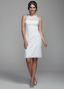 Simple and chic, you will look amazing on your special day in this short mesh dress!  Halter bodice with empire waist features ultra-feminineillusion sweetheart neckline.  Short sheer skirt with side ruching and flap creates a stunning silhouette.  Fully lined. Back zip. Imported. Dry clean only.  To protect your dress, try our Non Woven Garment Bag.