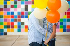 Cute couple, engagement photo, balloons, colorful, La Jolla, San Diego, Southern California portrait, Hauteshoe Studio