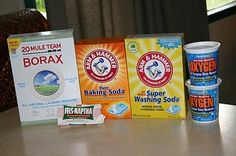 DIY laundry detergent 1 4 lb 12 oz box Borax (76 oz) found 1 4 lb box Arm & Hammer Baking Soda  found in the cooking isle 1 box Arm & Hammer Super Washing Soda 55 oz (3 lb 7 oz) 3 bars of Fels-Naptha soap, 2 small containers of Oxy Clean or store brand Oxy Clean (try to get about 3.5 lbs total (1.58 kg)) found in the detergent isle.  (you can also use pink Zote soap instead of Fels-Naptha.  You should be able to find all of these items at your grocery store.**Use 1-2 tbspoons per load. blushbye