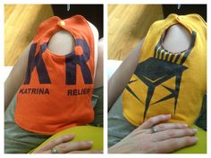 Repurposed T shirts become a bib.