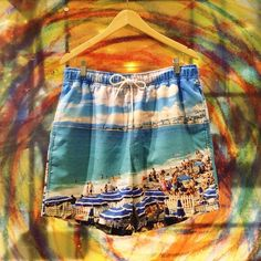We can't wait to hit the beach  with these Nautica Beach Photo Swimming Trunks