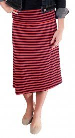 Striped Rayon Skirt - Navy/Red - $19 at DCM Apparel