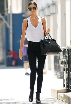Legs for days: Miranda Kerr stepped out in New York City in skinny jeans and a white tank, proving exactly why she's a supermodel http://dailym.ai/1oeGHvH