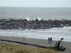 the jetty and beach in Ocean Shores, Washington