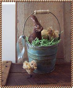 Early Easter Bucket Original Spring Bunny Rabbit Punch Needle Mohair Chicks | eBay