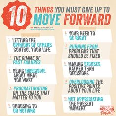 If you want to fly and move on to better things, you have to give up the things that weigh you down – which is not always as obvious and easy as it sounds. Starting today, give up… - via: http://www.marcandangel.com/2012/08/20/10-things-you-must-give-up-to-move-forward/