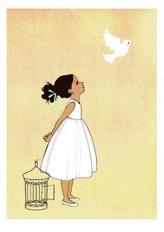 Child sets bird free