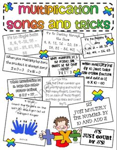 Multiplication songs and tricks poster freebie