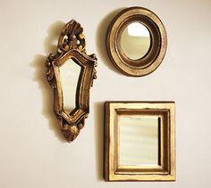 mini gilded gold mirrors