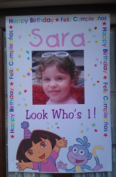 Dora the Explorer birthday banner personalized with photo. Only $15