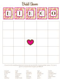 Printable shower game- Bridal Shower Bingo  You can't have a party without BINGO! Guests will randomly fill in the card with the wedding related words provided - someone will call out the words from the answer key - first one to get five in a row wins!