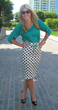 Green with polka dots. Super cute look!