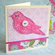 fabric bird card