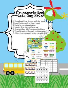 Transportation Themed Learning Pack from Selma Dawani Educational Therapy on TeachersNotebook.com (27 pages)  - Your preschooler and kindergartner are going to LOVE these games!! Phonics, alphabetical order, logic, Montessori 3-part cards for vehicles, color and car counting set and MUCH MORE!! Have this saved on my computer in case it stops being free.