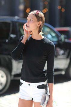 fashion weeks, karli kloss, sporty style, karlie kloss, black white, street styles, street style fashion, new york fashion, denim shorts