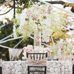 High romantic centerpieces | Brandy J Photography |  Bella Blooms Floral | www.theknot.com