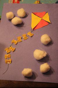 Kite Craft - love the mini bow tie pasta on the kite tail!