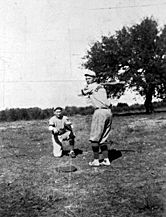 Lyndon Johnson plays catcher in this 1923 baseball game.