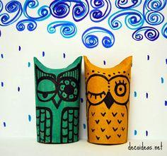 owl upcycled toilet paper rolls tutorial en espanol