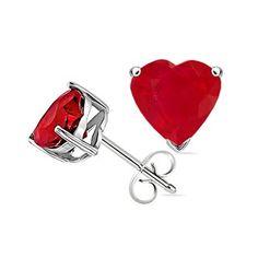 Heart Ruby Solitaire Studs #Angara