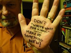 Writers write advice on their hands--including Garth Nix, Joe Haldeman and Neil Gaiman.