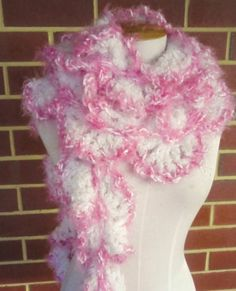 Pink White Soft Hand Crocheted Scarf