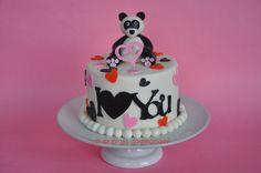 Panda Valentine's day cake