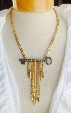 Skeleton key necklace statement piece by VintageValleyGirl on Etsy, $35.00