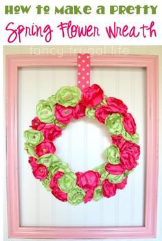 How to Make a Pretty Spring Flower Wreath! #crafts #wreaths