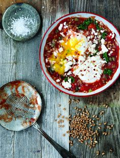 Saucy Tomato Poached Eggs with Kale and Wheat Berries from Whole-Grain Mornings by Megan Gordon | canada.com